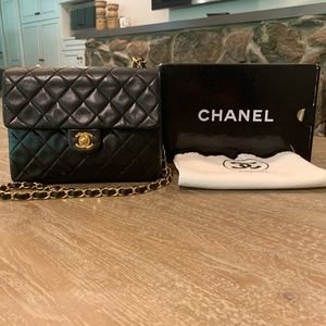 CHANEL 24K Gold Turn Lock Single Flap Mini Bag